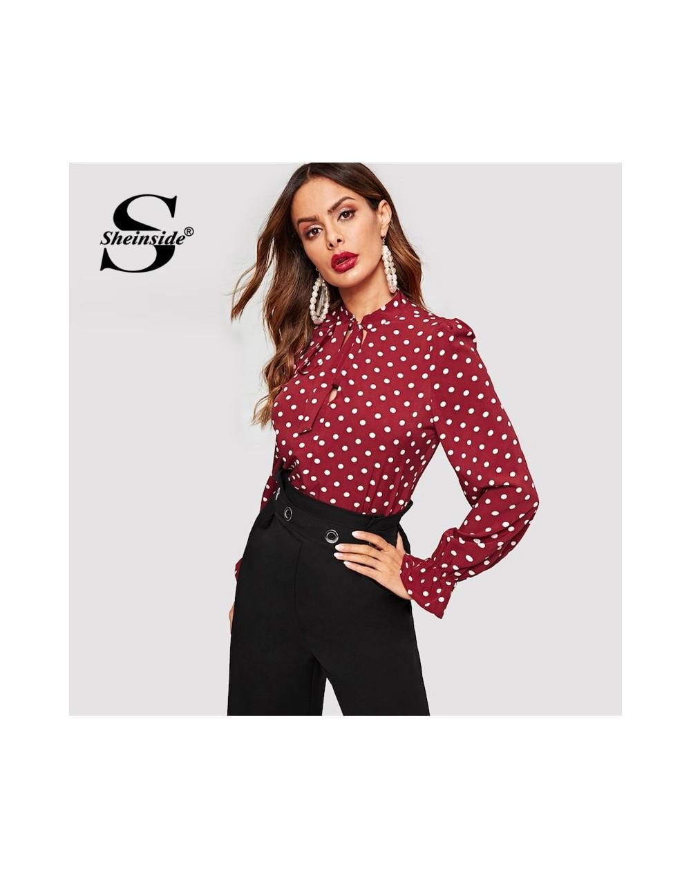 Burgundy Vintage Polka Dot Print Office Blouse Women Elegant Flounce Sleeve Blouses Spring Casual Stand Collar Tops - 413073...