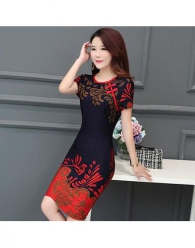 Plus size Spring summer Women Dress Vintage Short Sleeve Print Pencil Bodycon Dress Elegant Office Ladies Cheongsam Party Dr...