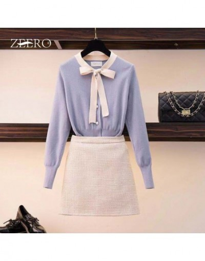 Women Autumn Knitted 2 Piece Sets Long Sleeve Bow Tie Slim Sweaters + Tweed Plaid Package Hip Skirt Clothing Suits Women Set...