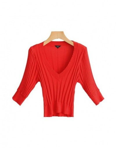 women elegant solid deep V neck knitted blouse half sleeve pullover slim fit female stylish casual tops blusas DA514 - red -...