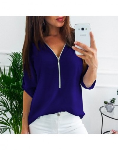 Zipper Short Sleeve Women Shirts Sexy V Neck Solid Womens Tops And Blouses Casual Tee Shirts Tops Female Clothes Plus Size 5...