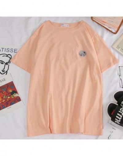 harajuku funny Cartoon embroidery t shirt Summer Short Sleeve casual loose Tshirt korean ulzzang Women T-shirts black white ...