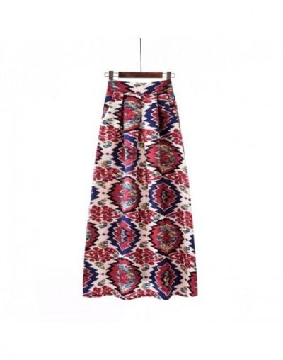 Plus size Maxi Skirt Summer 2019 Fashion Vintage High Street A-line High Waist Floral Polka Dot Long Skirts for Women Jupe L...