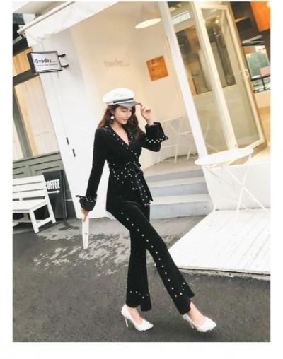 Pearl Beading Women's Trousers Tracksuits long sleeve Lace-up Coat + Wide-leg pant 2 piece set women Velvet sets - black - 5...