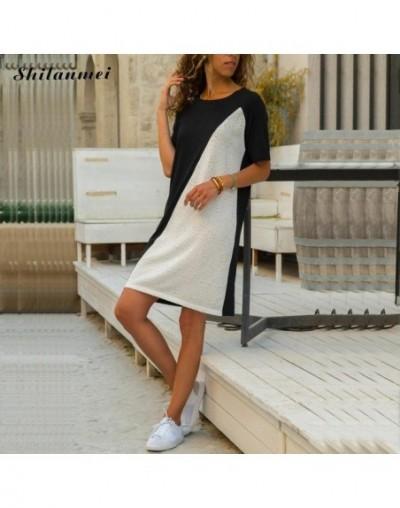 Women Summer Dress 2019 Newest Patchwork O Neck Shirt Dress Robe Femme Short Sleeve Causal Loose Dresses Beach Party Vestido...