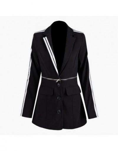 Black Long Sleeve Single-breasted Contrast Neckline Detachable Two Wear Blazer Femme Fashion 2019 Autumn Coat New TV843 - Bl...