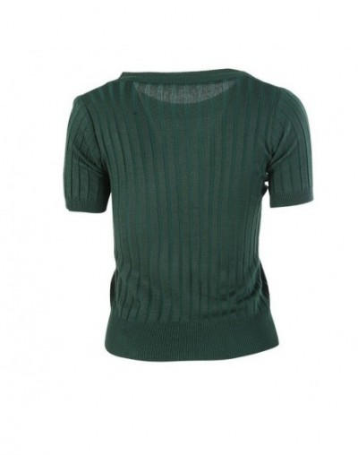 New Knit Women's Pullover O-Neck Knit Jersey Women's Shirt Half Sleeve Tops Five Colors - Green - 453938630565-3