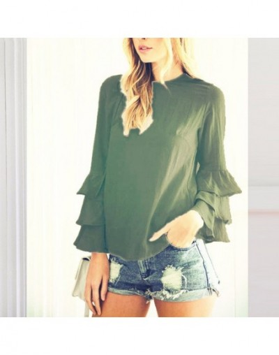 Women 2018 Spring Ladies Elegant Blouses Shirts O Neck 3/4 Sleeve Solid Blusas Tops Casual Loose Pullover Plus Size - Army G...