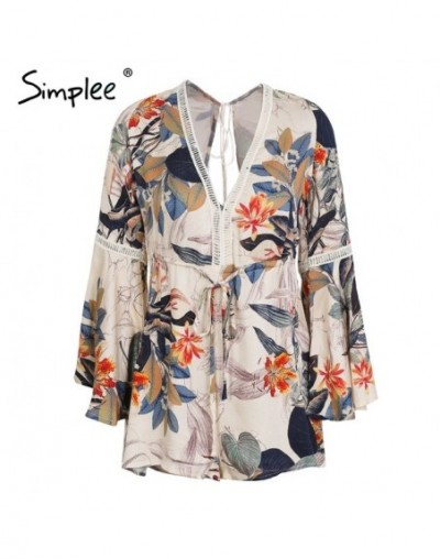 Lace up floral print women jumpsuit romper Sexy hollow out short overalls Spring casual flare sleeve playsuit 2018 - Print -...