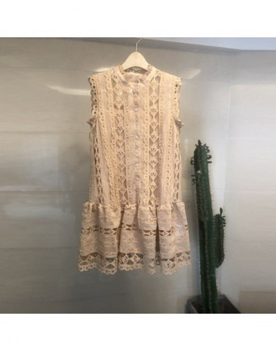 High Quality Hollow Out Lace Dress 2019 Summer Women O Neck Sleeveless Floral Embroidery Dress Vest Loose Mini A-Line Dress ...
