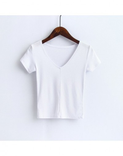 Women Deep V-Neck Super Soft Ribbed Cropped Tops Lindy Slim T-Shirts Casual Tees - white - 4Y3892608096-6