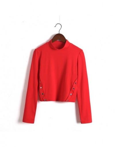 Women Turtleneck Button Detail Crop Top - long sleeve red - 4O3951393697-2