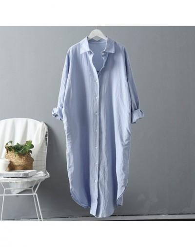 Cotton Women Blouse Shirt 2019 Summer New Linen Cottons Casual Plus size Womans Long Section Shirts White/Blue - blue - 4L30...
