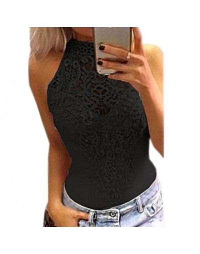 Body Sexy Bodysuits Women 2019 Summer Bodycon Sleeveless Lace Bodysuit Romper Jumpsuit Feminino Hollow Out Overalls Button G...