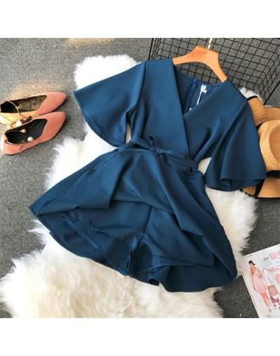 Slim New Fashion Sexy V Neck Bandage Jumpsuit Casual Elegant Women Playsuit Summer Beach Overalls Holiday Basic Tie Romper -...