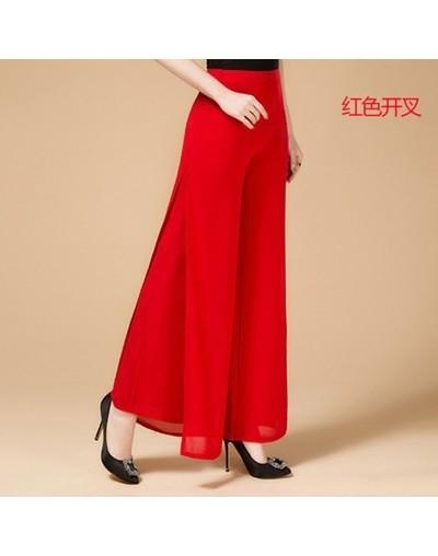 2019 new Ladies Fashion Pants Long Full Length Womens Wide Leg High Waist Side Split Chiffon Pants Summer Trousers Plus Size...