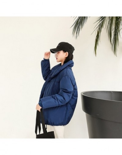 Full of youthful women's short cotton coat new loose dark buckle student bread clothing stand collar thick coat women - Blue...