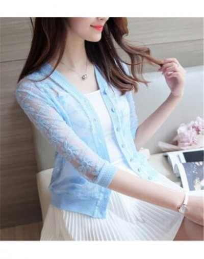 2017 spring summer thin cardigan plus size womens knitted cardigan shirt lace crochet sexy sweater short coat Sunscreen clot...