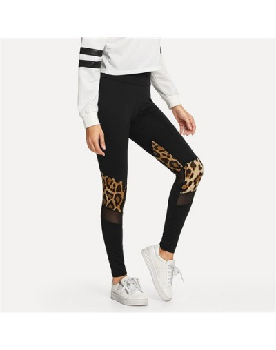 Fitness Black Contrast Mesh Leopard Print Leggings High Waist Women Skinny Workout Pants 2018 Autumn Casual Leggings - Black...