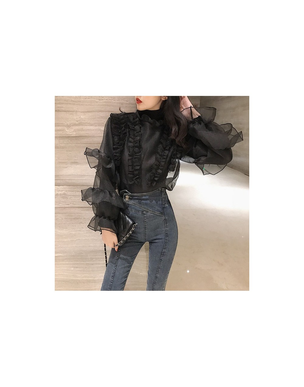 Ruffles High Collar Vintage Blouse Shirt Women Flare Long Sleeve Elegant Female Blouse Casual Summer Chiffon Blusas female 2...