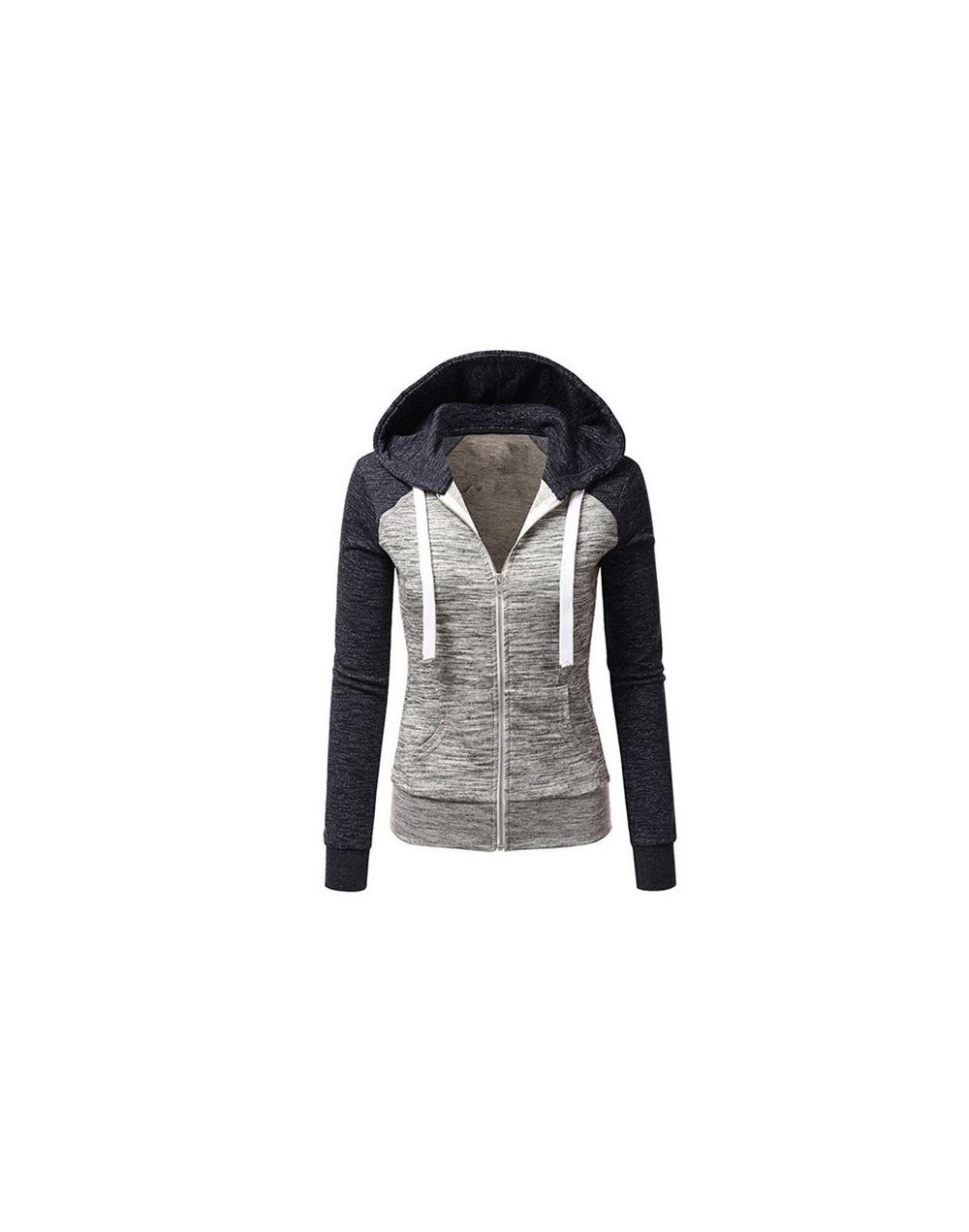 Women Autumn slim Stitching hooded Long sleeves Sweatshirt coat - Blue - 4R4150167807-1