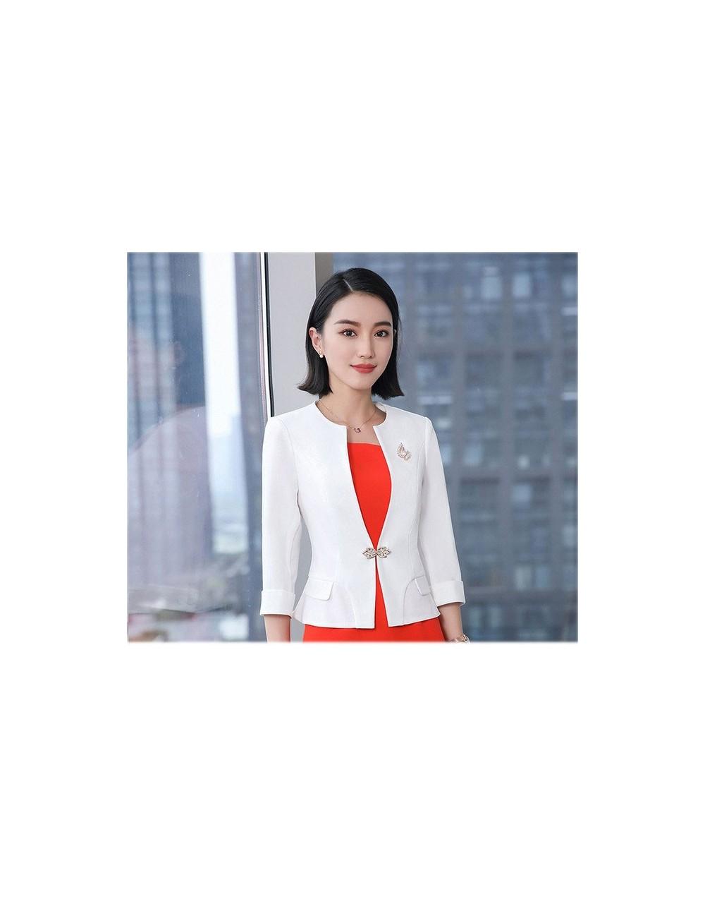 New Style Summer women suits with blazer dress Uniform Business Orange Blazer Office Dress Suit costume femme Plus Size - wh...