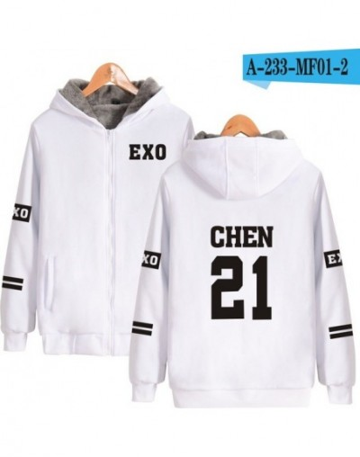 EXO K-pop Harajuku Hoodies Women Thicker Fluff Winter Coats Tao Hip Hop Sweatshirt Women Female Fans Zipper Clothes - White ...