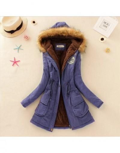 Autumn Warm Winter Jacket Women Women's Fur Collar Coats Jackets for Lady Long Slim Down Parka Hoodies Parkas - Royal Blue -...