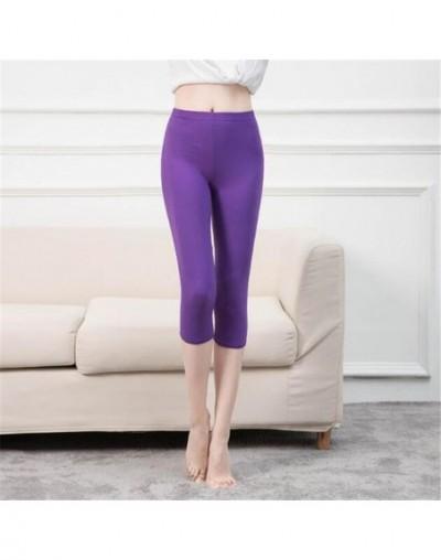 Women Legging Black Capri Leggings Sexy Fitness Sporting Pants Mid-Calf Trousers Hight Waist Solid Bottom Slim Leggings - K3...