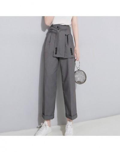 2019 Spring High Waist Lace Up Black Slim Temperament Tide Trend Fashion New Women's Wild Casual Wide Leg Pants LA462 - Dark...