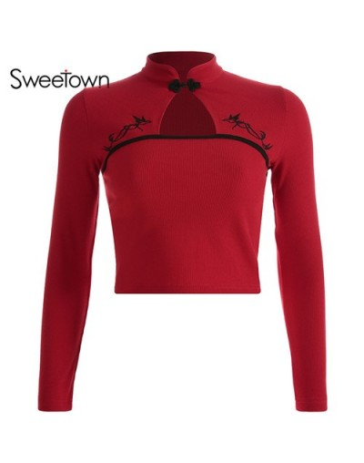 Chinese Style Vintage T Shirt Women 2019 New Long Sleeve Crop Top Tee Shirt Femme Red Embroidery Front Hollow Tshirts - red ...