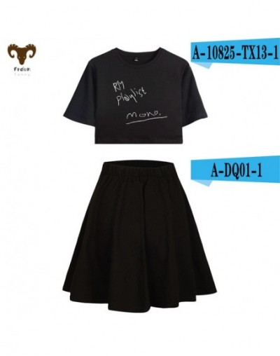 Kpop POP RM MOMO Short Skirt Suit Sexy Girl T-shirt and Short skirt suit Fashion Two Piece Set Casual 2018 New Sets - 1 - 48...