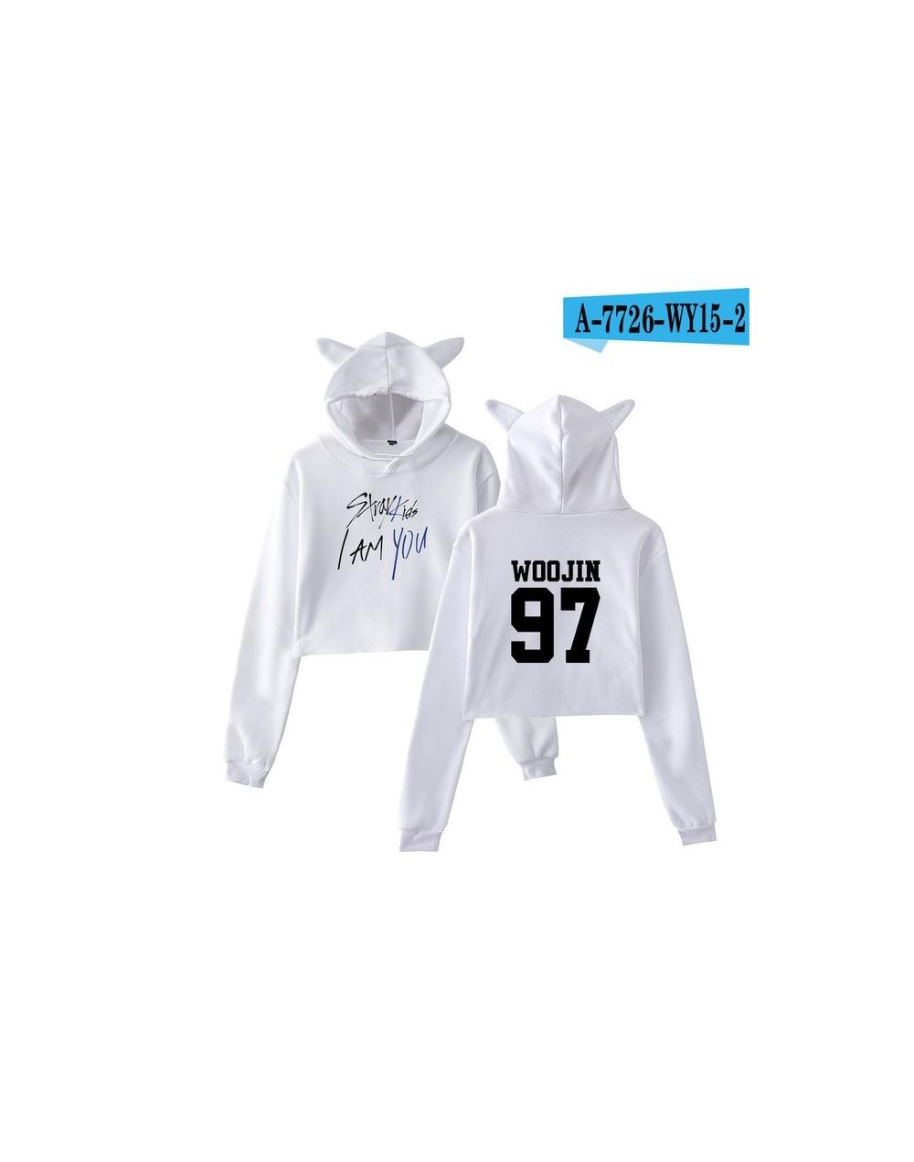 kpop 2018 Stray Kids I Am You Idol Changbin 99 Print oversized hoodies sweatshirts Women Sex Crop Top Cat clothes 2XL - whit...