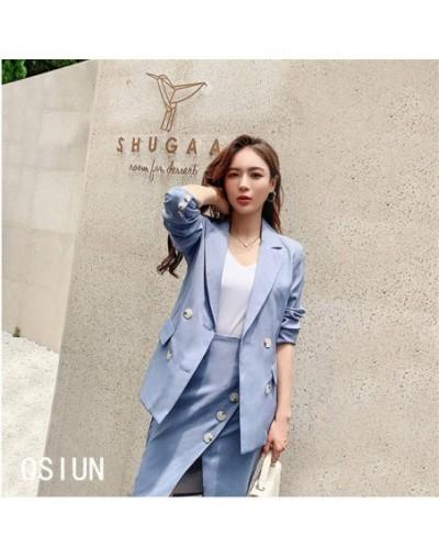Gentle New Blue Elegant Office Ladies Blazers+Sexy All Match Women Split Mini Skirts Feminine Suit Two Pieces Sets - PHOTO C...