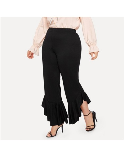 Plus Size Black Ruffle Hem Flare Leg Pants Women 2019 Spring Solid High Waist Pants Ladies Elastic Waist Crop Trousers - Bla...