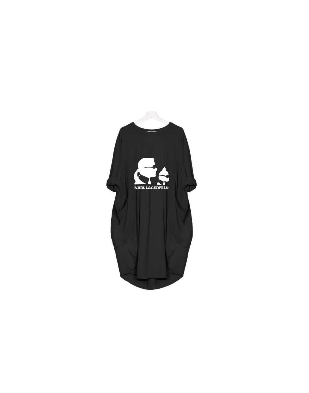 2019 Summer Fashion Off Shoulder T Shirt For Women Kawaii Karl Lagerfeld Printed Pocket Top TShirt Plus Size Tee Shirt Femal...