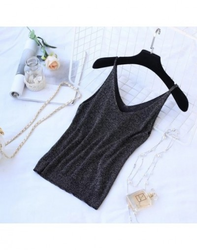 Sexy Knitted Tank Top V Neck Women Blusa Solid Silver Camis Vest 2019 Summer New Clothes Casual Top Vest - Black - 484112851...