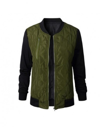 Women Jacket Autumn Winter Leisure Fashion Roundneck Stitching Quilted Bomber Jackets 2018 New Coats - army green - 4L307102...