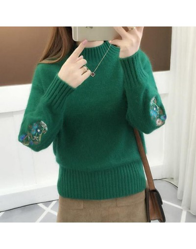 2019 Winter Thick Warm Beautiful Embroidery Turtleneck Sweater Women Long Sleeve Knit Pullover Sweater Female Pull Femme - G...