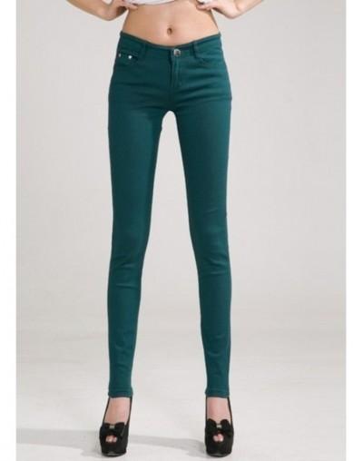 2017 Autumn Women Pencil Jeans Candy Colored Mid Waist Full Length Zipper Slim Fit Skinny Women Pants Hot Fashion Female Jea...