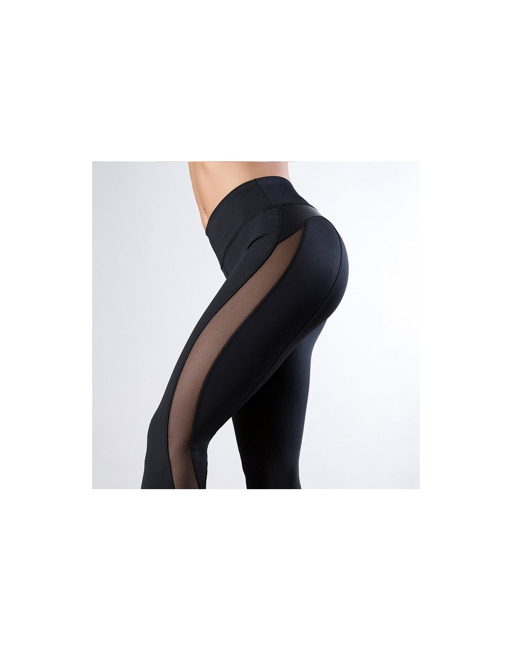 New Fashion Women Sexy Mesh Pants PU Faux Leather Leggings Casual Fitness Sporting Leggings Workout Solid Black Leggings Muj...