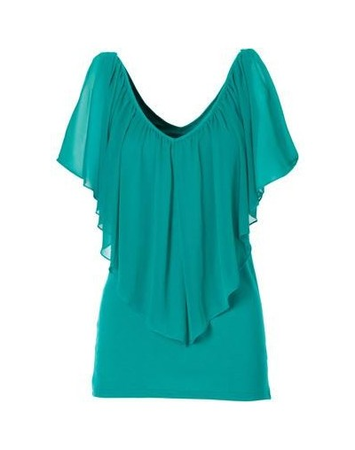 20Summer With Lace Shoulder T-Shirts Women's Bat Sleeves Plus Size Skewed Collar Cotton Tops Fashion T Shirt - Picture color...