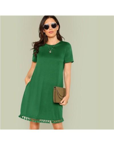 Tassel Hem Side Pocket Tee Dress Women Summer Dress 2019 Pocket Fringe Shift Solid H Type Tunic Short Sleeve Dresses - Green...