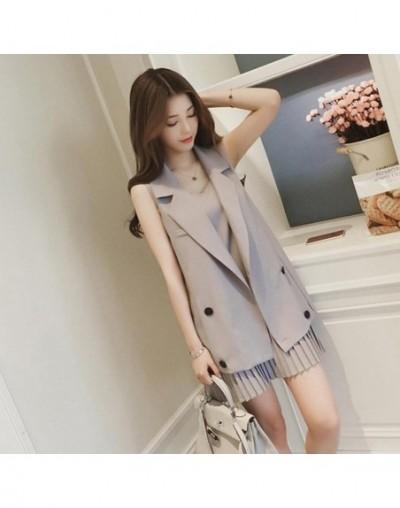 2 Piece Women Long Vest Jacket + Pleated Dress Fashion Women's Suit Female Casual Two Piece Women Suit Conjunto Feminino - G...