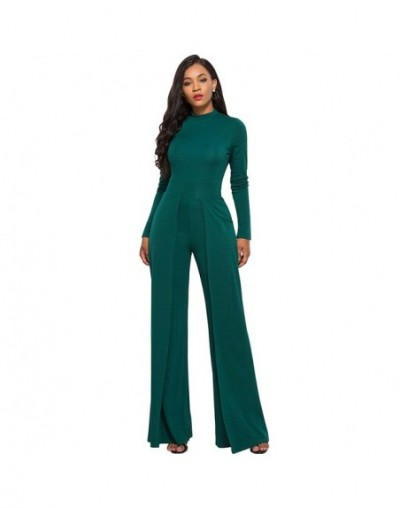 Women Dungarees Wide Legs Pant Jumpsuits Stretchy Turtleneck Zipper Long Sleeve Playsuit High Waist Rompers female Tracksuit...