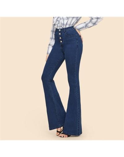Blue Button Up Flare Hem Jeans Woman Long Denim Trousers Vintage Pants Capris 2019 Fall Mid Waist Stretch Women Jeans - Blue...