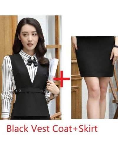 Novelty Black Slim Fashion Blazer Suits With Vest and Skirt for Ladies Office Professional Blazers Uniform Styles Plus Size ...