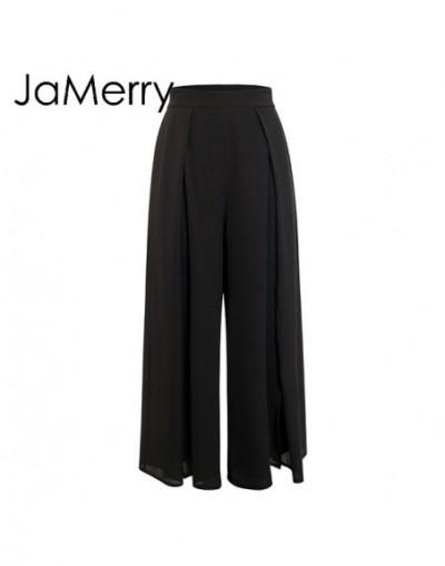 2019 spring summer elegant women pants Wide leg high waist split trousers Casual streetwear fashion female palazzo pants - B...