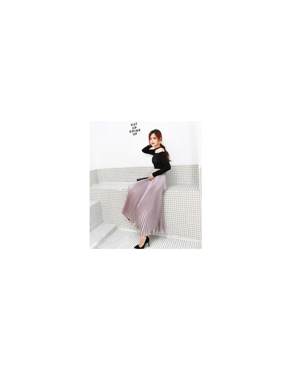 2019 Summer Fashion Vintage Silver Golden metal solid flared Maxi Skirt High Waist Beach Long Pleated Skirts for Women Ladie...