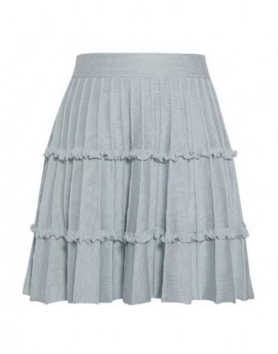 Turmeric Elegant knitted pleated skirt Sweet pink short skirts womens High waist A-line mini skirt Ruffled autumn winter ski...